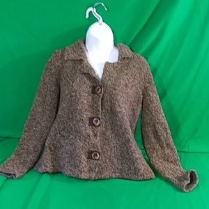 Liz Claiborne first issue S fuzzy button sweater
